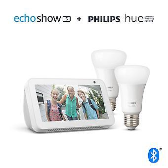 Echo show 5, white + philips hue white smart bulb twin pack led (e27)   bluetooth & zigbee compatibl