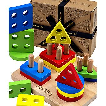 Jaques of london stack & learn geometric shapes puzzle for kids wooden stacking toys – perfect tod