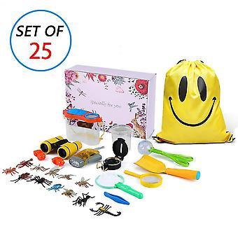 Kit di esplorazione all'aperto Mimieyes per bambini - Set regalo avventuriero per bambini da 25 confezioni con binocolo, magnif