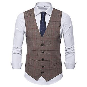 Men's Business Casual Slim Vests, Plaid Single Buttons Fit, Male Suit