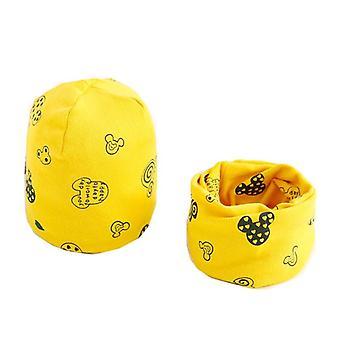 Plush Hat Scarf Set, Print Neck, Collar Cotton