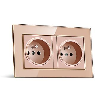 Glass Panel Two-slot Wall Power Socket With Pins 16a