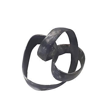 "Aluminum Knot Sculpture, 7"", Black"
