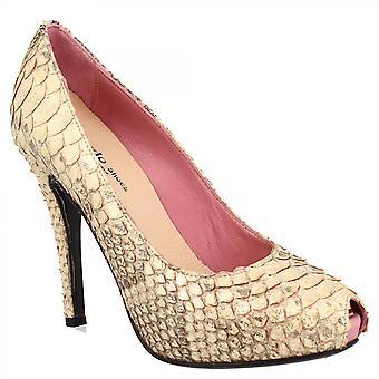 Leonardo Shoes Women's handmade high heels platform peep toe pumps shoes in bronze rock python leather
