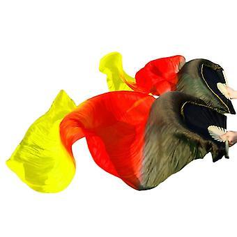 100% Todellinen / jäljitelmä Silkki vatsa Tanssi Silkki fanit Käsintehty värjätty pitkä tuuletin kiinalainen