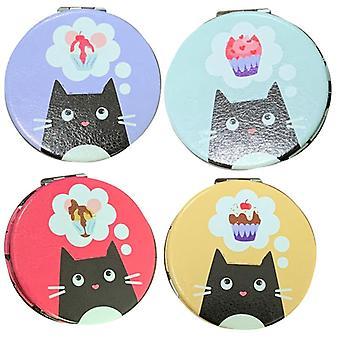 4 Amusement collectionnable miroir compact de chat fin félin