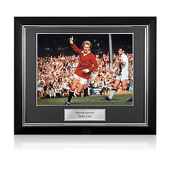 Denis Law Signed Manchester United Photo. Deluxe Frame