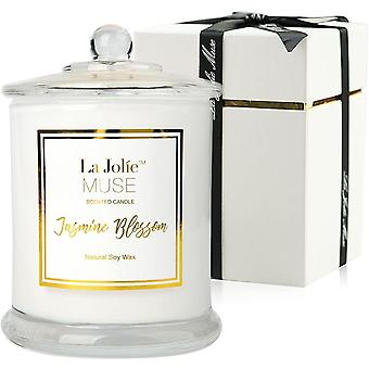 Jasmine Scented Candle Gift Natural Soy Wax, 50-65 Hours Burn Fine Home Fragrance, Glass Jar Candles