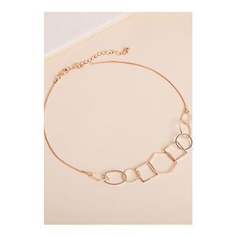 Rose Gold Long Chain Hollow Pendant Necklace