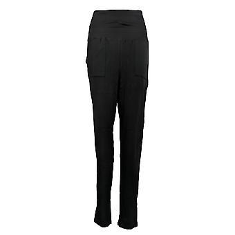 Nogen Kvinder 's Bukser Hyggelig Strik Jersey Foldover Jogger Sort A388558