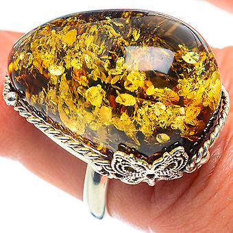Baltic Amber Ring Size Réglable 6 (925 Sterling Silver) - Handmade Boho Vintage Jewelry RING58321