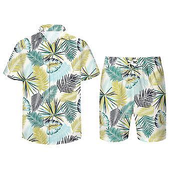 Allthemen Men's Summer Cool Short Sleeve Shirt & Shorts Set Hawaiian Beach Pants