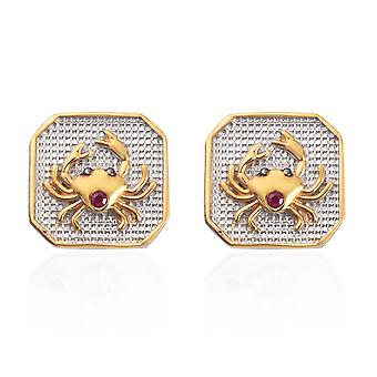 TJC Ruby Cancer Zodiac Creature Earrings for Women Sterling Silver 0.06ct