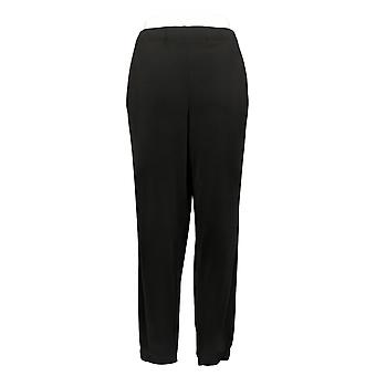 Susan Graver Women's Petite Pants Pull-On w/ Pocket Black A390462