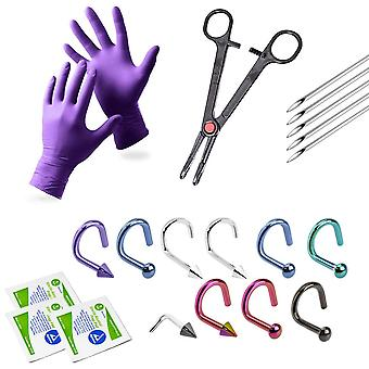 20-Piece nose piercing kit - 10 nose piercing jewelry, gloves, needles + more