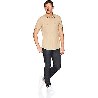 Goodthreads Men's Slim-Fit Short-Sleeve Ripstop Dobby Shirt, Olive, X-Large