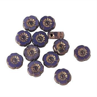 Czech Glass Beads, Hibiscus Flower 9mm, Purple Opaline, Bronze Finish, 1 Strand, by Raven's Journey