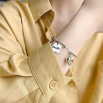 S925 collana d'argento classico regalo festa della mamma per donne e ragazze smiley carta rotonda