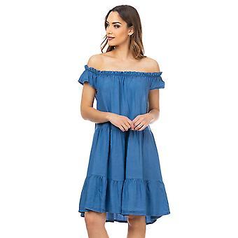 Denim jurk met elastische schouder