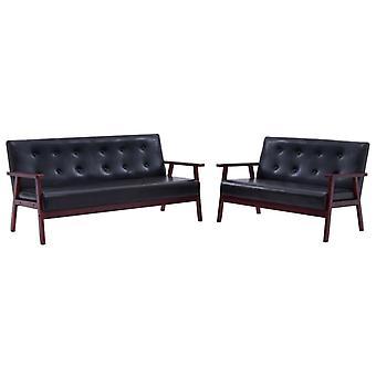 vidaXL 2 piezas. Sofá set Negro imitación de cuero
