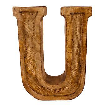 Litera U Ręcznie rzeźbione drewniane wytłaczane