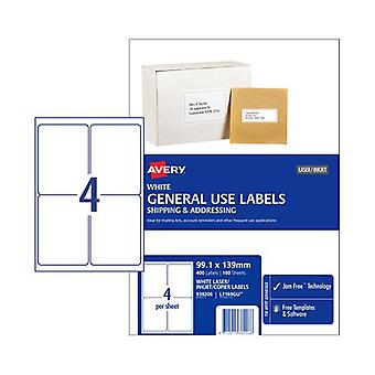 Avery General Label L7169Gu 4Up Box Of 100