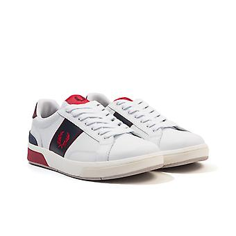 Fred Perry B200 Perforated Leather Trainers - White