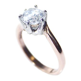 Ah! Jewellery Women's Simulated Diamond Two Tone Rose Gold Over Stainless Steel Ring.