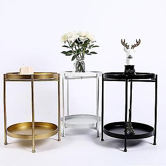 Coffee Table Double layer Iron Art Small Corner Round Table Living Room Sofa Side Table Bedside