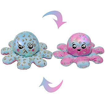 Luminous Double-sided Octopus Plush Toy, Sequin Printed Octopus With Light(Blue  Rose Red)