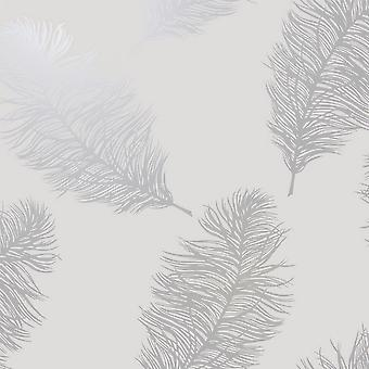 Holden Decor Reflect 2 Fawning Feather Grey Silver Wallpaper 12626