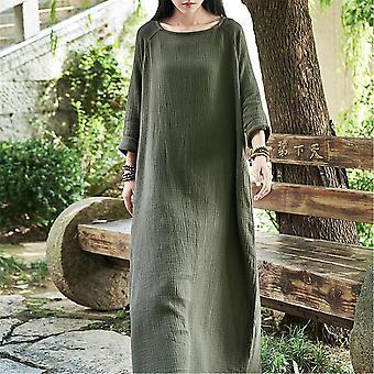 Donna 3/4 maniche Lino Camicia Semplice Abito Donna Festa Tasche Casual Sundress