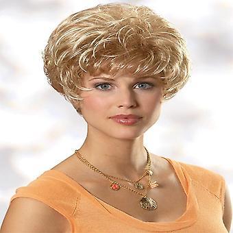 Χνουδωτό κοντό μικρό σγουρή περούκα (ξανθιά)