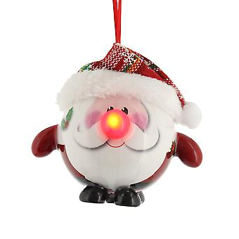 Singel 8cm Santa Decoupage Design Christmas Bauble - Lyser upp!