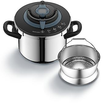 TEFAL® Nutricook® + 6 lt  Plus Pressure Cooker,Stainless Steel, 4 Different Cooking Programmes, Timer, with Recipe Book
