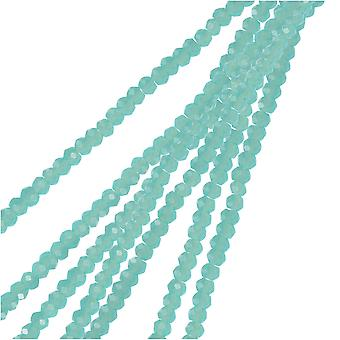 Crystal Beads, Faceted Rondelle 1.5x2.5mm, 2 Strands, Opaque Turquoise Blue