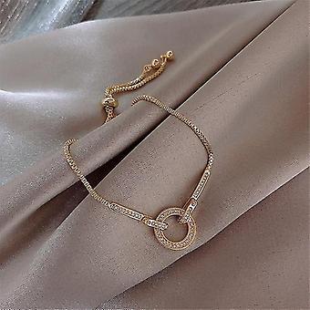 Fashion Cubic Zirconia Runde Crystal Vedhæng Armbånd Smykker (Guld)