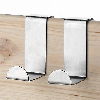 2pcs Stainless Steel Kitchen Cabinet Draw Over Door Hook Clothes Hanger Holder