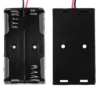 6''ケーブルリード付き2-aaバッテリー用プラスチックバッテリーストレージケースボックスホルダー