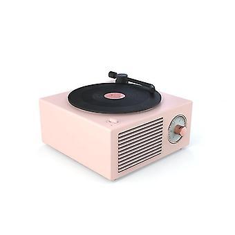 Vinyl Record Player Bluetooth Difuzor Wireless Subwoofer Desktop Home Player (Roz)