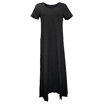 Cuddl Duds Dress Printed Jersey Boat Neck Top with Tie Waist Black A373536