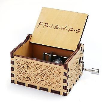 F.r.i.d.s gravierte Hand Kurbel Holz Musikbox