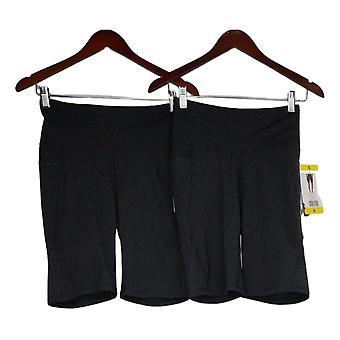 Danskin Women's Shorts 2 Pocket 2 Pack Biker Black