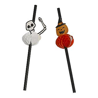 Sugrör Halloween Pumpa/skelett 8-pack
