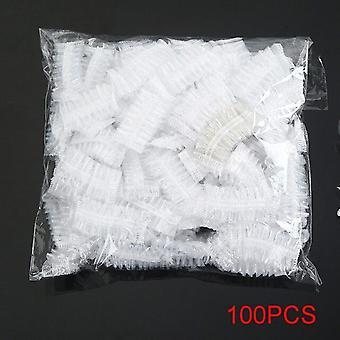 en gang øreklokker vanntett stripe plast dusjhette ørebeskyttelse pe hår behandling baderomsprodukter 100pcs