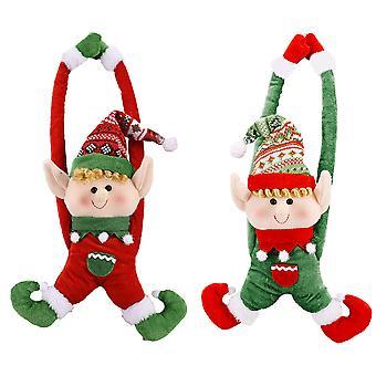 2pcs וילון חג המולד אבזם סנטה וילון עניבה וילון חג המולד וילון