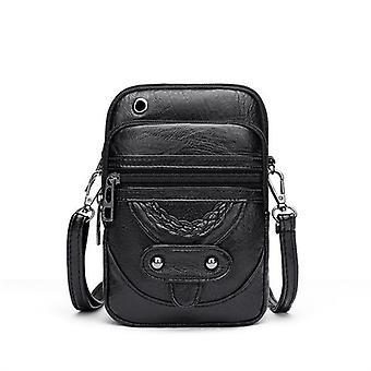 Retro mjuk läder messenger väska nit pu axelväska handväska