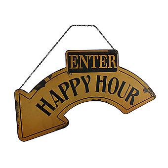 Yellow & Black Metal Enter Happy Hour Hanging Arrow Sign