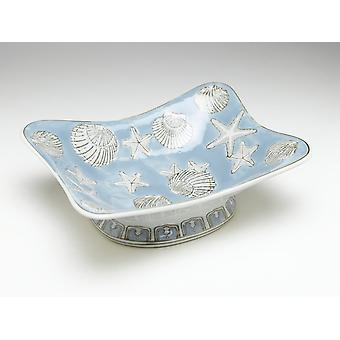 AA Importing 59717 Square Light Blue And White Bowl