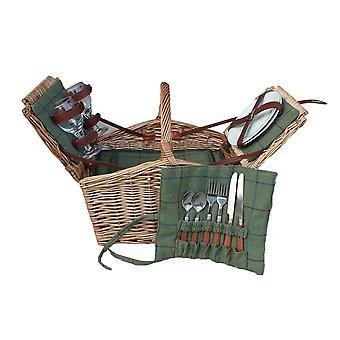 2 Person Schmetterling Lidern ausgestattet Wicker Picknick-Korb